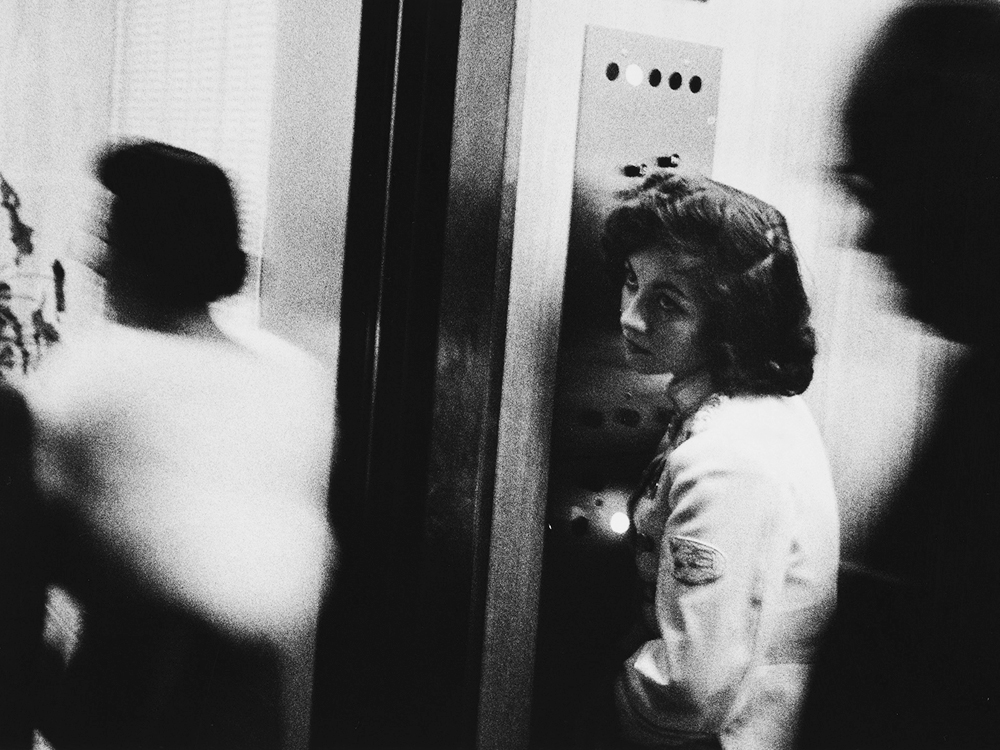 "Robert Frank's famous image ""Elevator — Miami Beach, 1955"