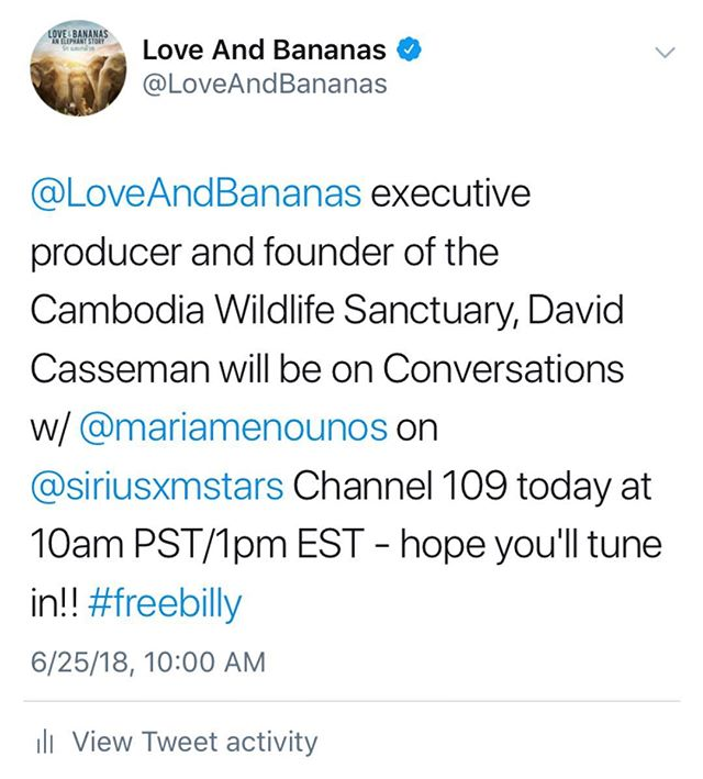 Today! Executive Producer of L&B and Founder of the Cambodia Wildlife Sanctuary will be talking with @mariamenounos at 10am PST! You won't want to miss this! #TeamBanana #SaveElephants ❤️🍌🐘