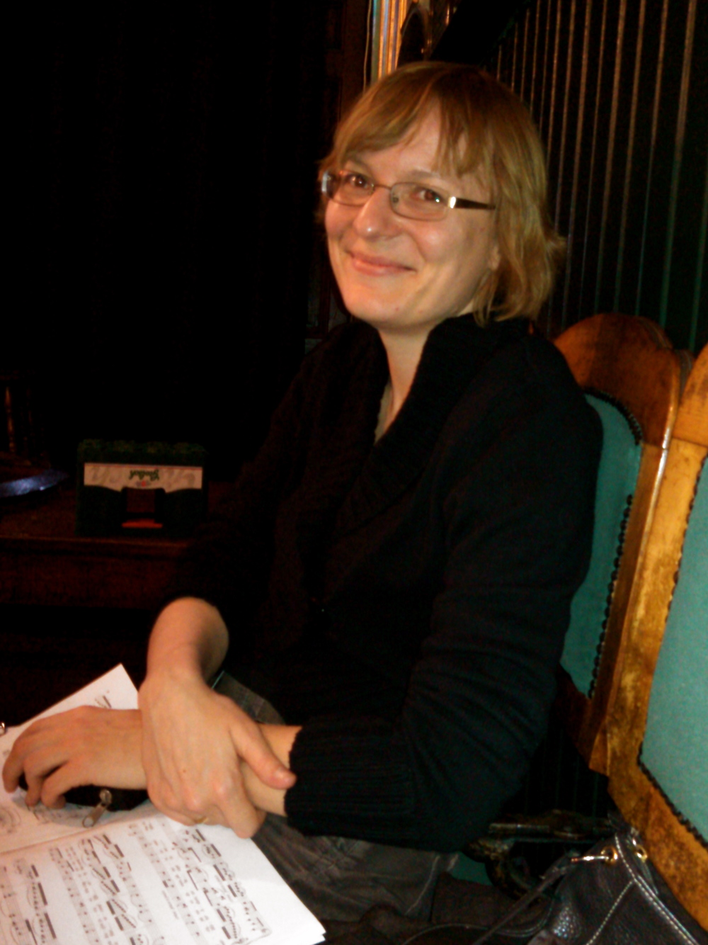 Katarzyna at rehearsal at the King's Head Theatre, London.
