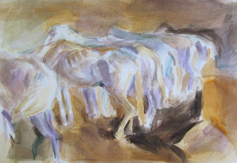 Bus Horses in Jerusalem (After John Sargent)