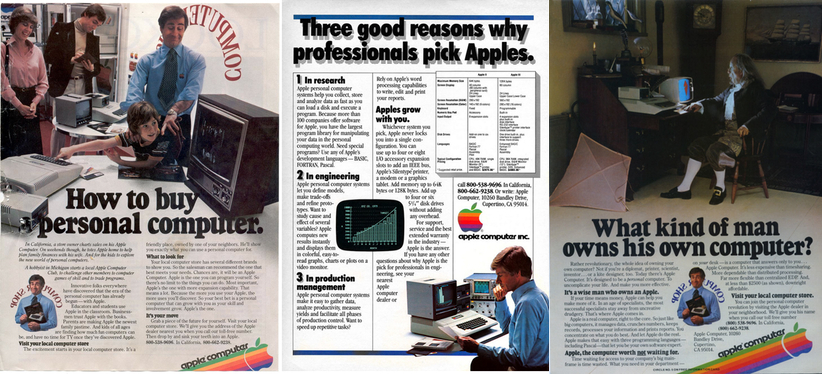 Sampling of Apple ads from the late 70s and early 80s.