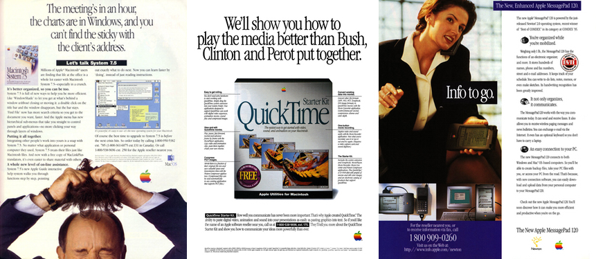 Sampling of Apple ads from the early to mid 90s.