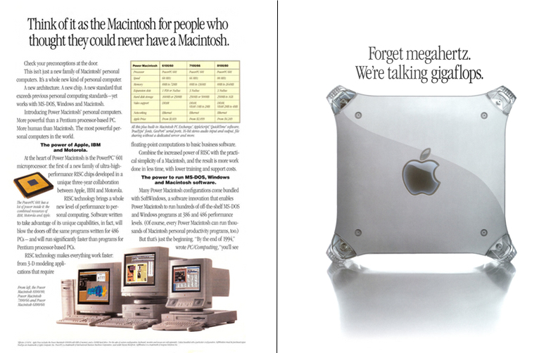 1994 Power Mac ad v. a 1999 Power Mac ad