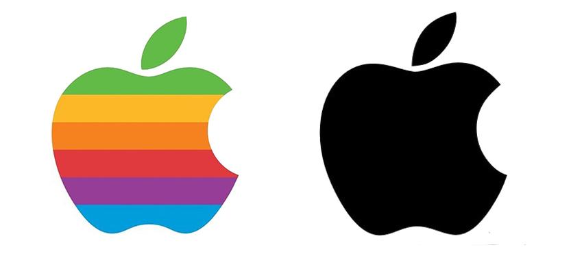 """Rainbow"" Apple Logo (1976-1998) v. monochromatic version (1998-present)"