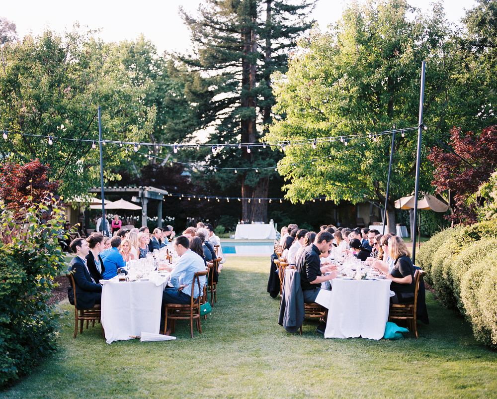I knew from the beginning that I wanted long tables. I loved the feel of everyone sitting together, and looking down the table at so many special people.
