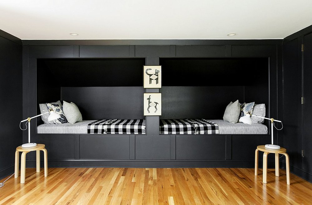 I love the built-in beds and rich charcoal color of the paint.