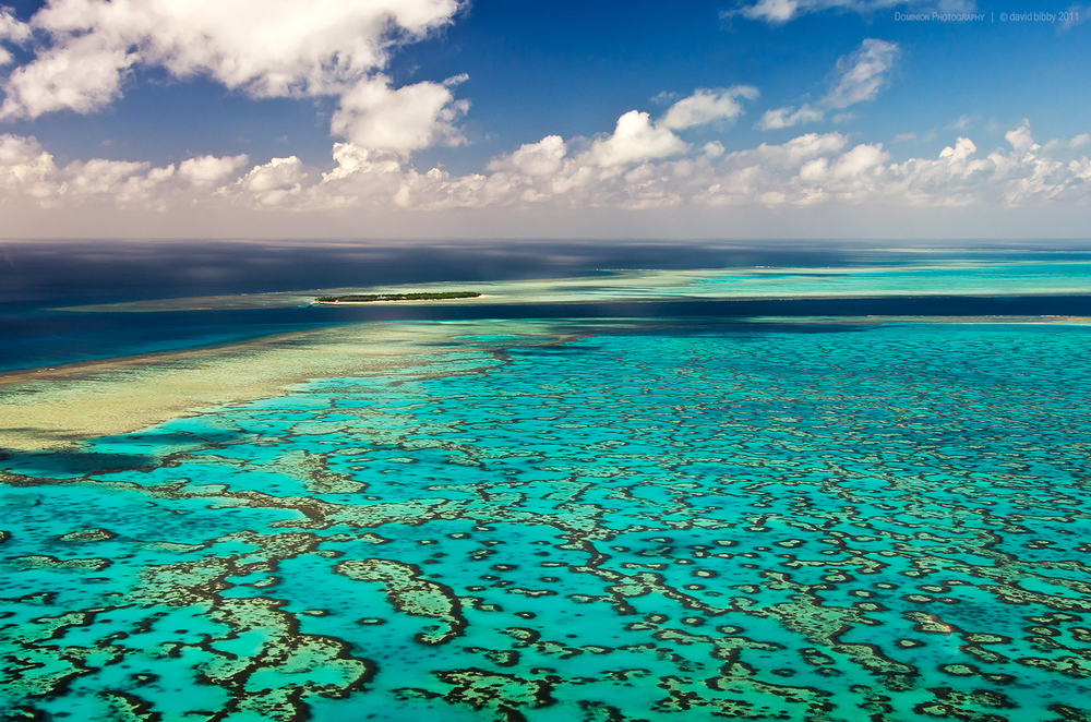 View across Wistari Reef while approaching Heron Island by helicopter. Great Barrier Reef.