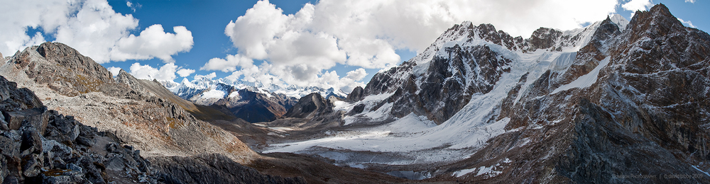 Karchung La  - View from the pass (5120m), surrounded by 7000m+ peaks. Snowman trek.