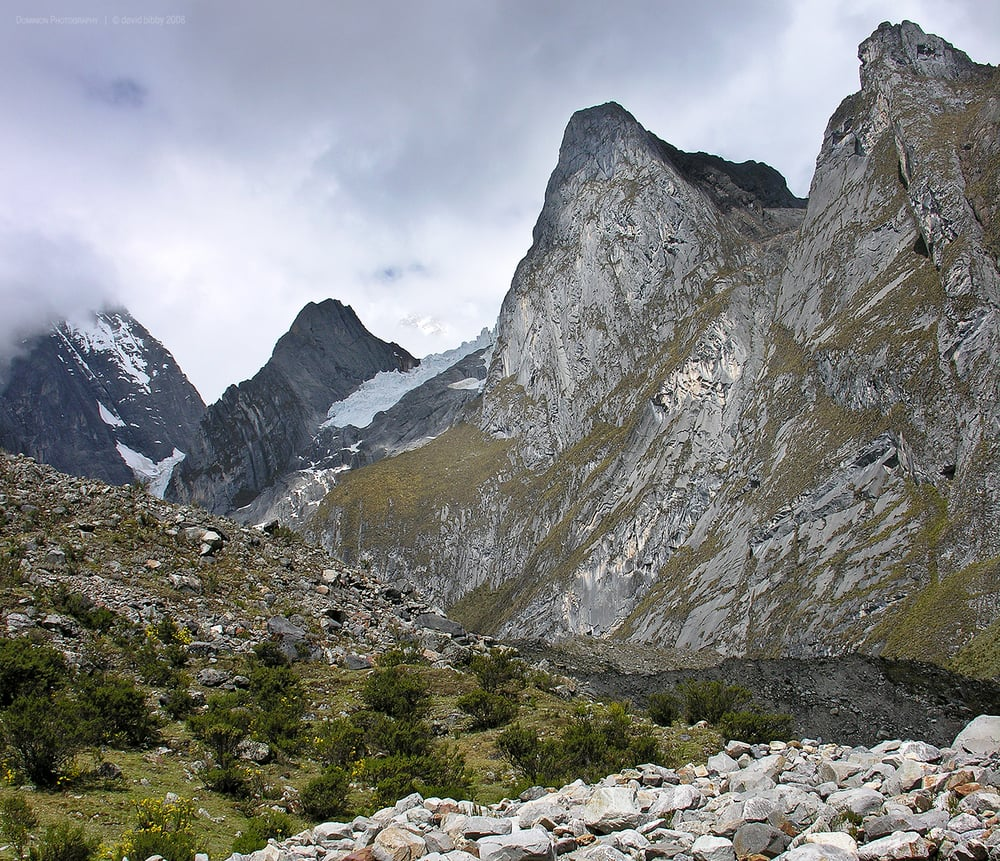 Moraine in Quebrada Gangrajanca valley. Cordillera Huayhuash, Peru.