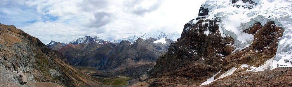 View of Cordillera Huayhuash from Punta Cuyoc (5000m). Cordillera Huayhuash, Peru.