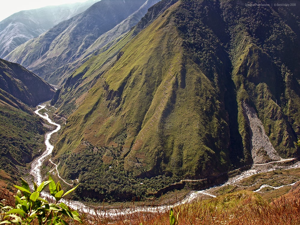 The Urubamba river near Machu Picchu. Check out the track up to a house on the ridge...  Andes, Peru.
