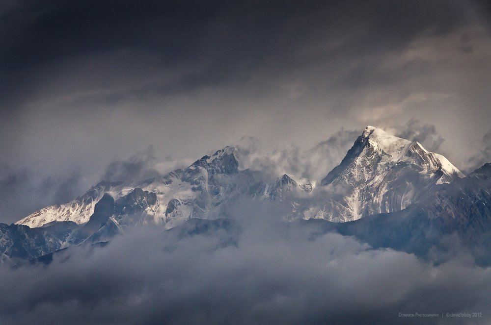 Dawn over the Sandachhe Himal.   Tashi Kang (left, 6385m) and Tsartse (right, 6343m). Mustang district.