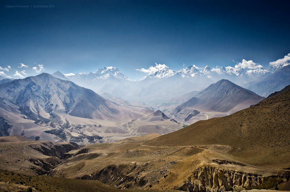 View up the Jhong Khola valley. The Thorong La is the low point on the horizon. Mustang district.