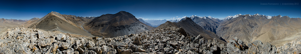 A 360 degree view from a small peak (about 5600m) above the Jungben La (5550m). Dhaulagiri Himal in the distance at right. Mustang / Dolpa districts.