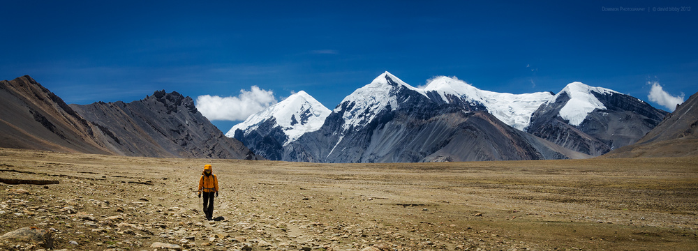 The long walk  - Crossing high plains after descending from Jungben La. Dolpa district.