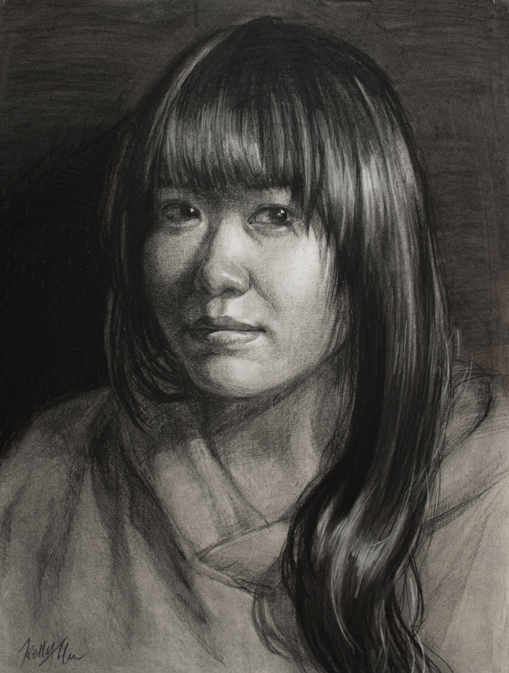 Self Portrait, 6hr. Charcoal on paper