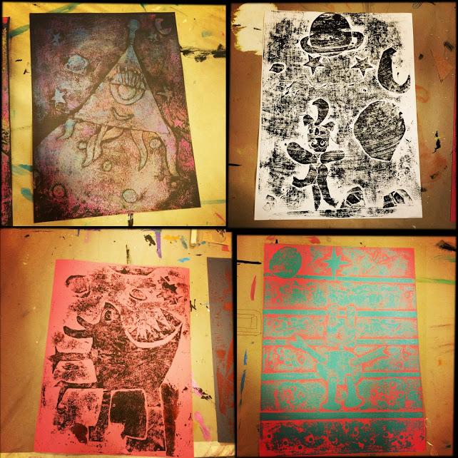Alien collagraph prints