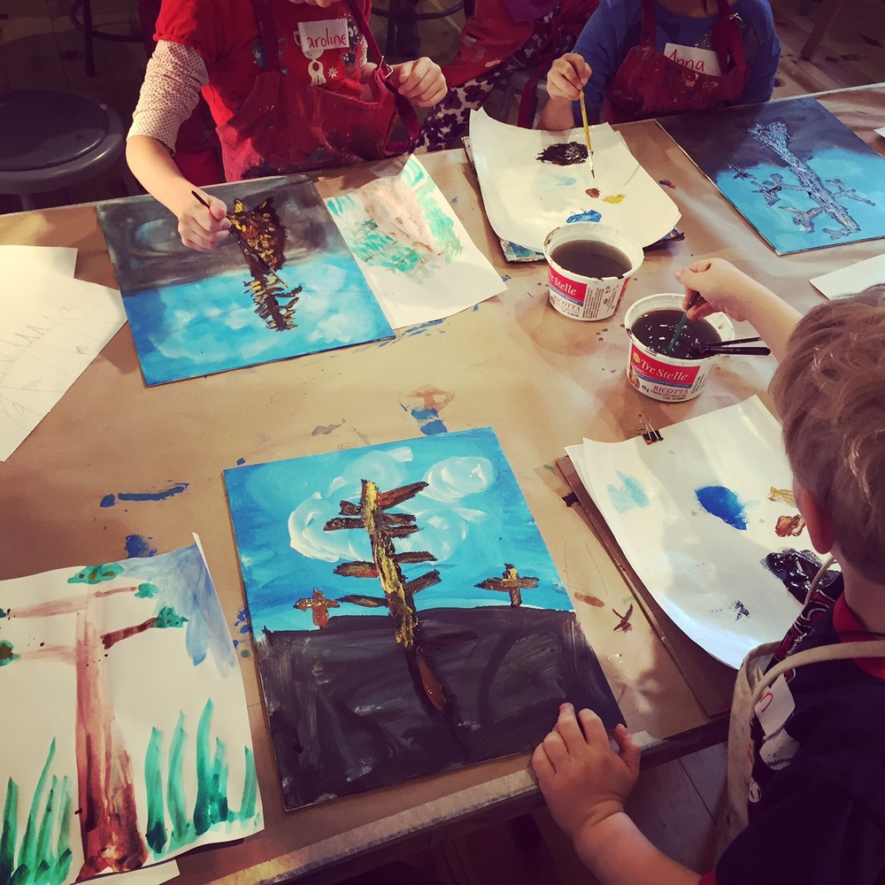 Acrylic tree paintings inspired by Emily Carr. We did a forest visualization exercise with the kids and had them imagine they were a tiny insect on the forest floor. This helped them achieve the sense of power and awe of the forest that Carr represented in her work.