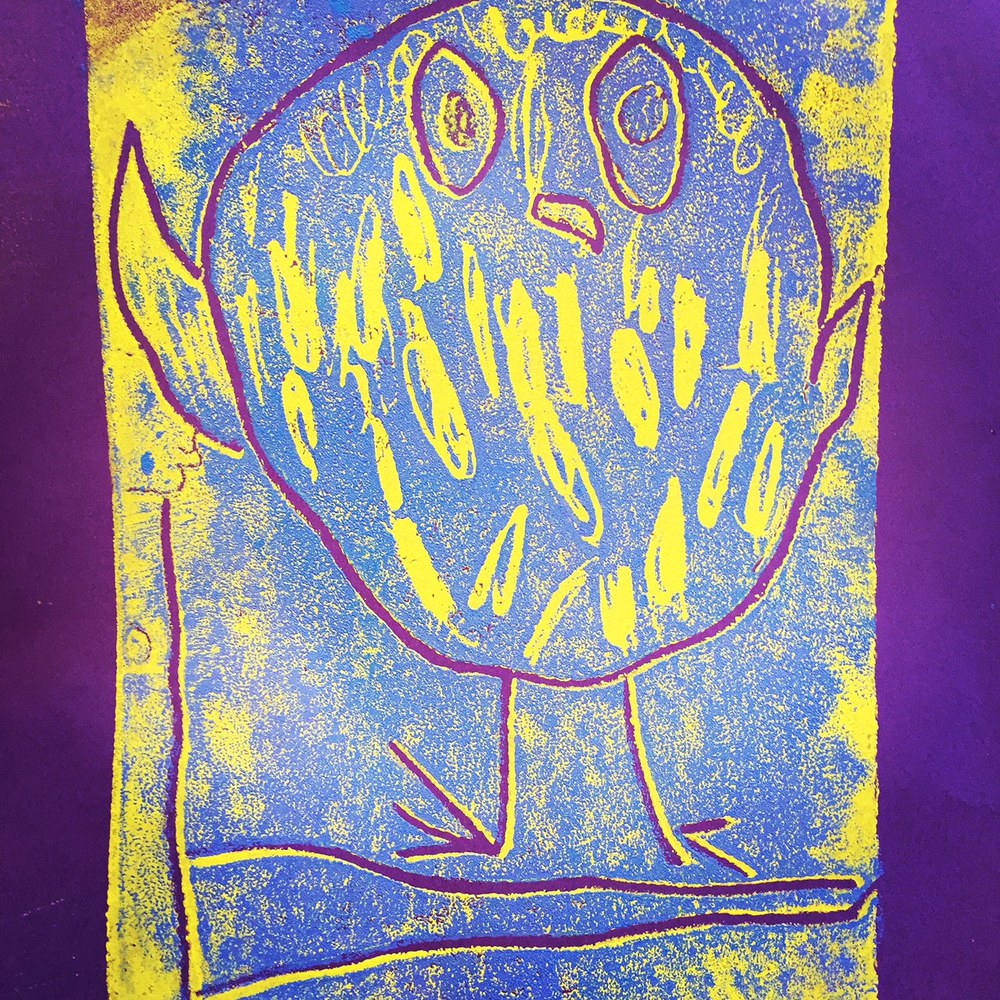This photo and the next are examples of 2-colour styrofoam prints made by our grade 1-2 students. Our inspiration for this work came from Canadian artist, Kenojuak Ashevak. She was an inuit artists who created beautiful prints representing some of the wildlife of Canada's arctic. Each student chose an arctic animal that had special meaning to them and worked really hard pulling multicoloured prints.