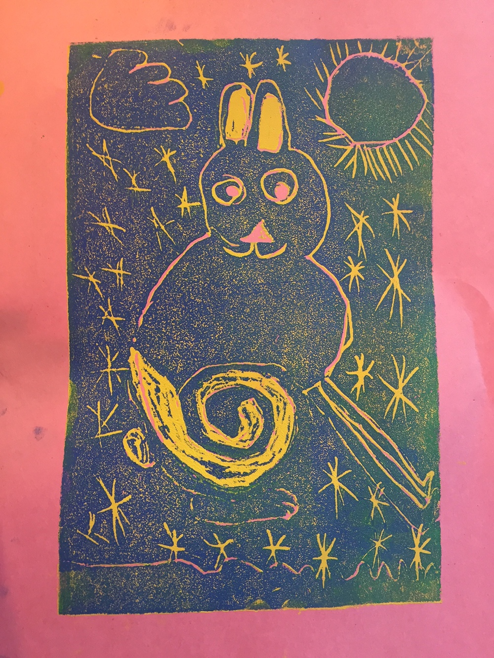 Beautiful arctic hare print inspired by Kenojuak Ashevak.