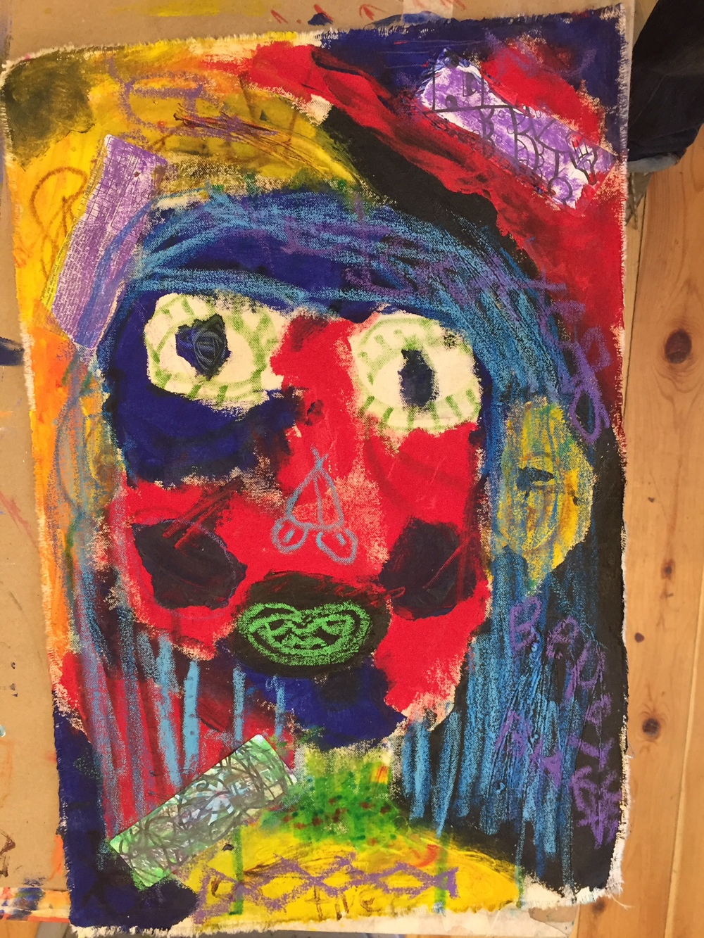 Jean-Michel Basquiat inspired portrait on unstretched canvas. Media include acrylic paint, oil pastel and paper collage.