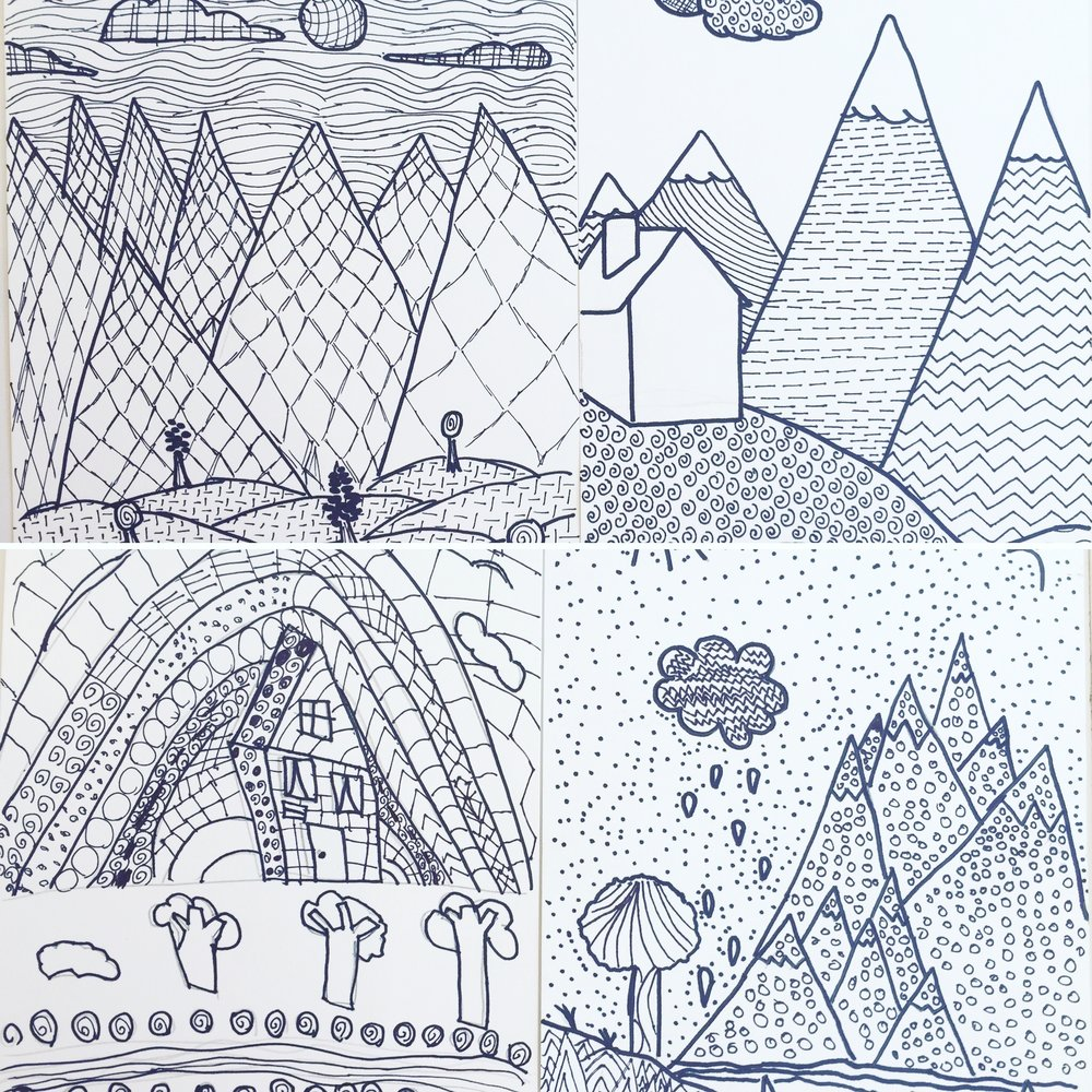 Line landscape drawings done by some of our Gr 3-5 Drawing and Painting students in Week One of our Fall classes.
