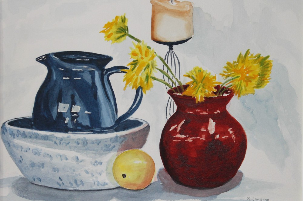 Lemon, Red Vase, Blue Pitcher.  Still Life.  Not For Sale.  Artists collection.