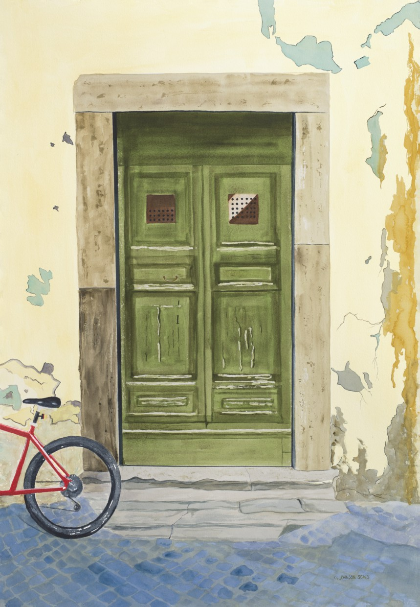 Green Doors from Rome, Italy.  Original has been sold.  Reproductions available.