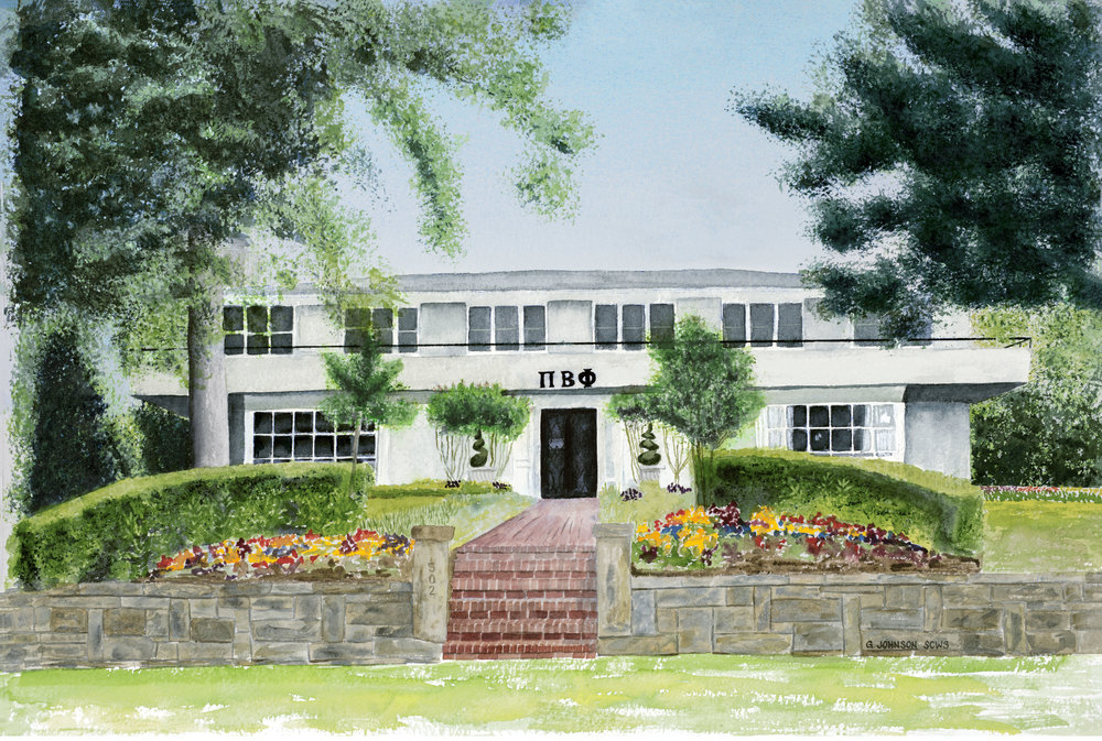 Pi Beta Phi Sorority House prior to demolition in 2016.  Fayetteville, AR.  Original Sold.  Reproductions available.