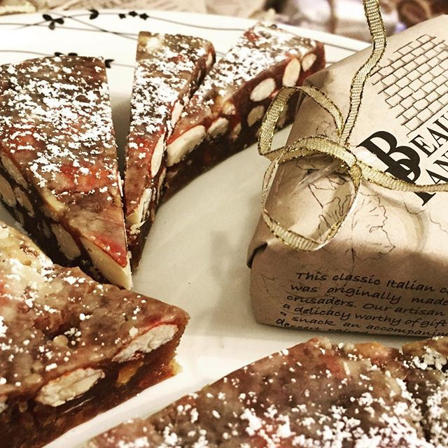 Just arrived: three flavors of Beaujolais panforte! So pretty and festive and full of nuts, honey, citrus and spices. Yum. Try Panpepato for a little kick in the pants 🔥 #panforte #italianfood #fruitcakebutbetter #goeswithcheese #partyfood #easydessert #santarosa #shoplocal