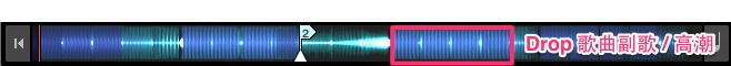 Breakdown 後方波型較大的 ( 歌曲節奏感最為強烈的部分,為歌曲副歌&高潮 Drop )