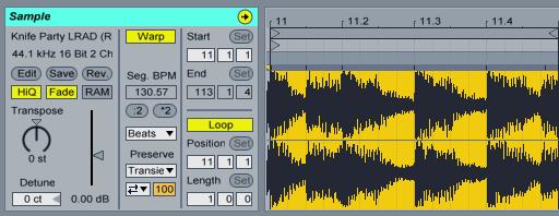 上圖片部分 Loop 使用 1Bar 來當節奏