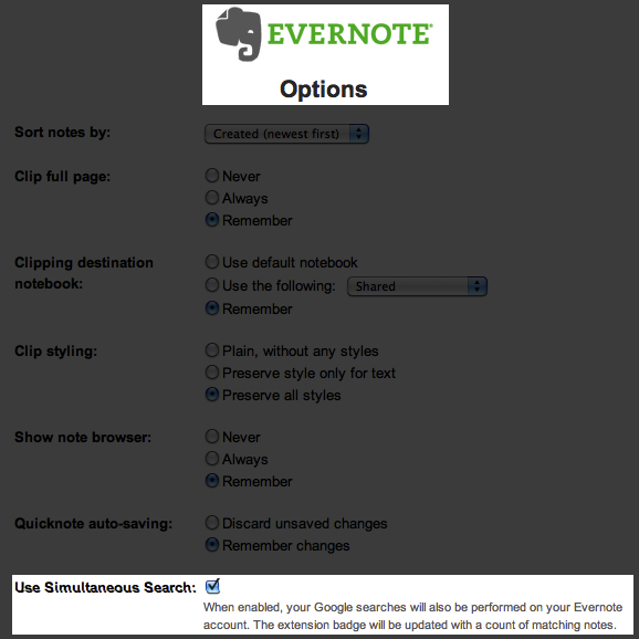 Simultaneous Evernote/Google Search