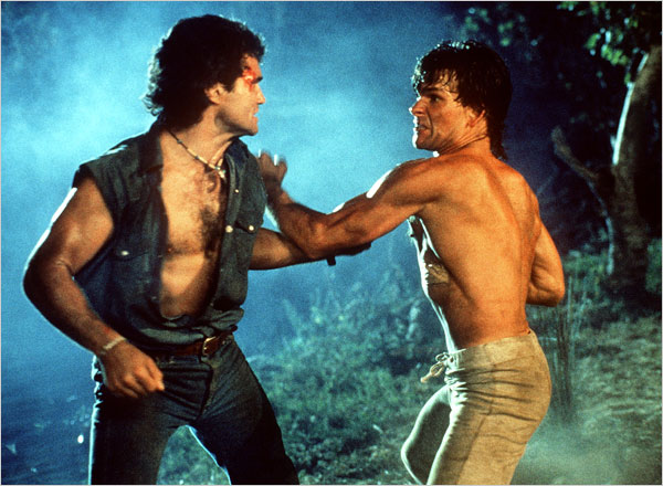 "Sadly, Patrick Swayze passed away today.  I enjoyed his films.  Most remember him for ""Ghost"" or ""Dirty Dancing"", but I choose to remember him in ""Red Dawn,"" ""Road House,"" and ""Point Break.""  The cry ""Wolverines!!!"" still echoes in the depths of my teenage memories. The ultimate in bad-assery was when Swayze's character literally tiger-claw's this bad guys throat out in ""Road House.""  I assure you, the bad guy really had it coming.  The closest image I could find was from this NY times page. Cancer sucks and it isn't fair.  Rest in peace, Patrick Swayze."