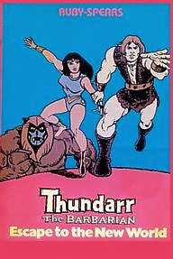 Thundarr the Barbarian is a Saturday morning animated television series, created by Joe Ruby and produced by Ruby-Spears Productions. It lasted 2 seasons, 1980-81 and 1981-1982. Action figures of the three main characters were released by Toynami in 2004. via en.wikipedia.org Who remembers Thundarr? Every time my friends mention obscure cartoons from the past, my mind jumps to Thundarr!