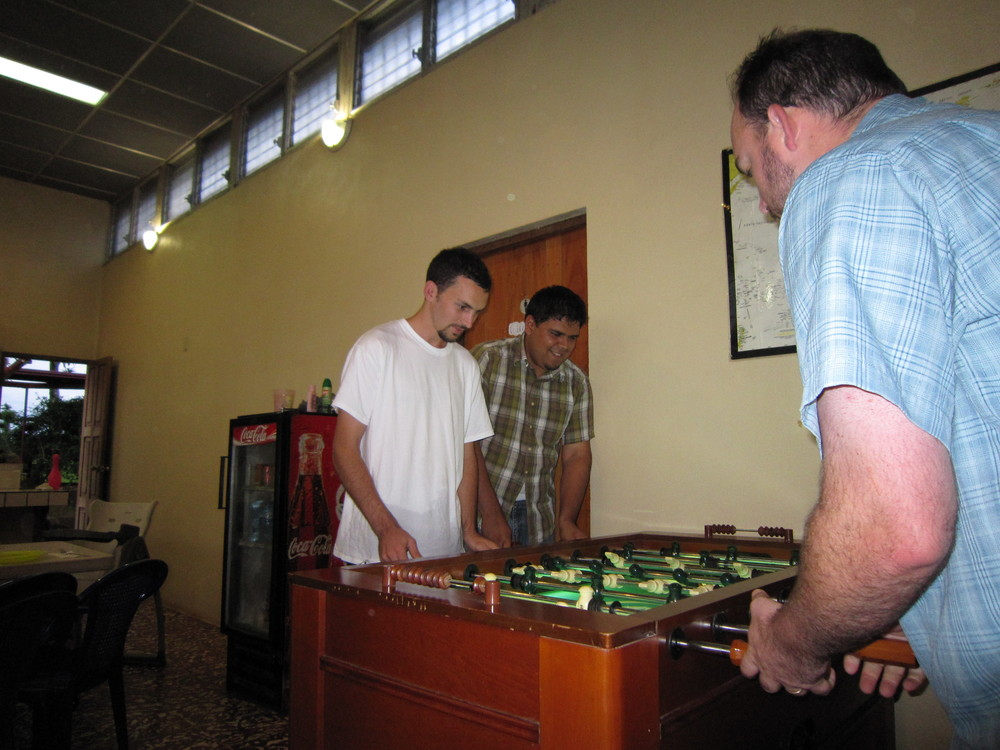 Playing fooseball