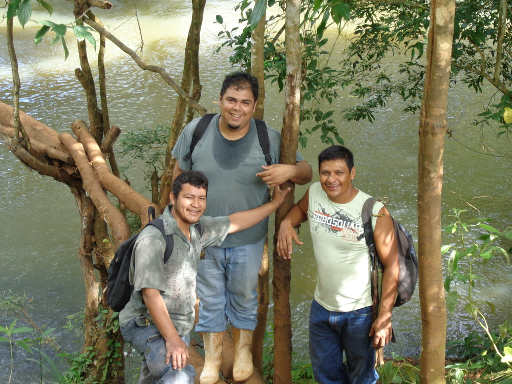 Pastor Carlos, Hector, Cesar, and myself on the way to his farm you had to cross several man made bridges.