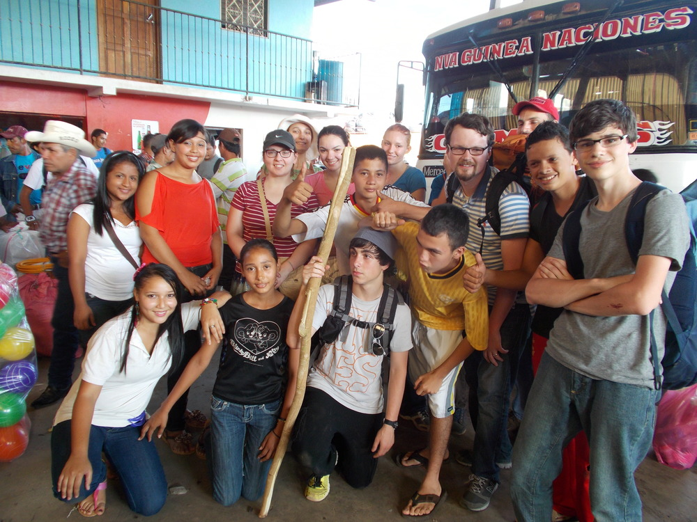 Doing skits and telling others about God's love at the bus stop in Nueva Guinea! The youth team from CC Southbury with the youth group of CC Nueva Guinea!