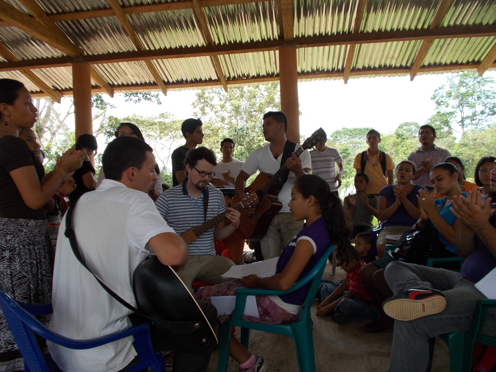 Worshiping together with the Nicaraguans in a colony called Los Angeles about 30 minutes away from Nueva Guinea. Seen here are youth from Nueva Guinea and from CC Southbury.