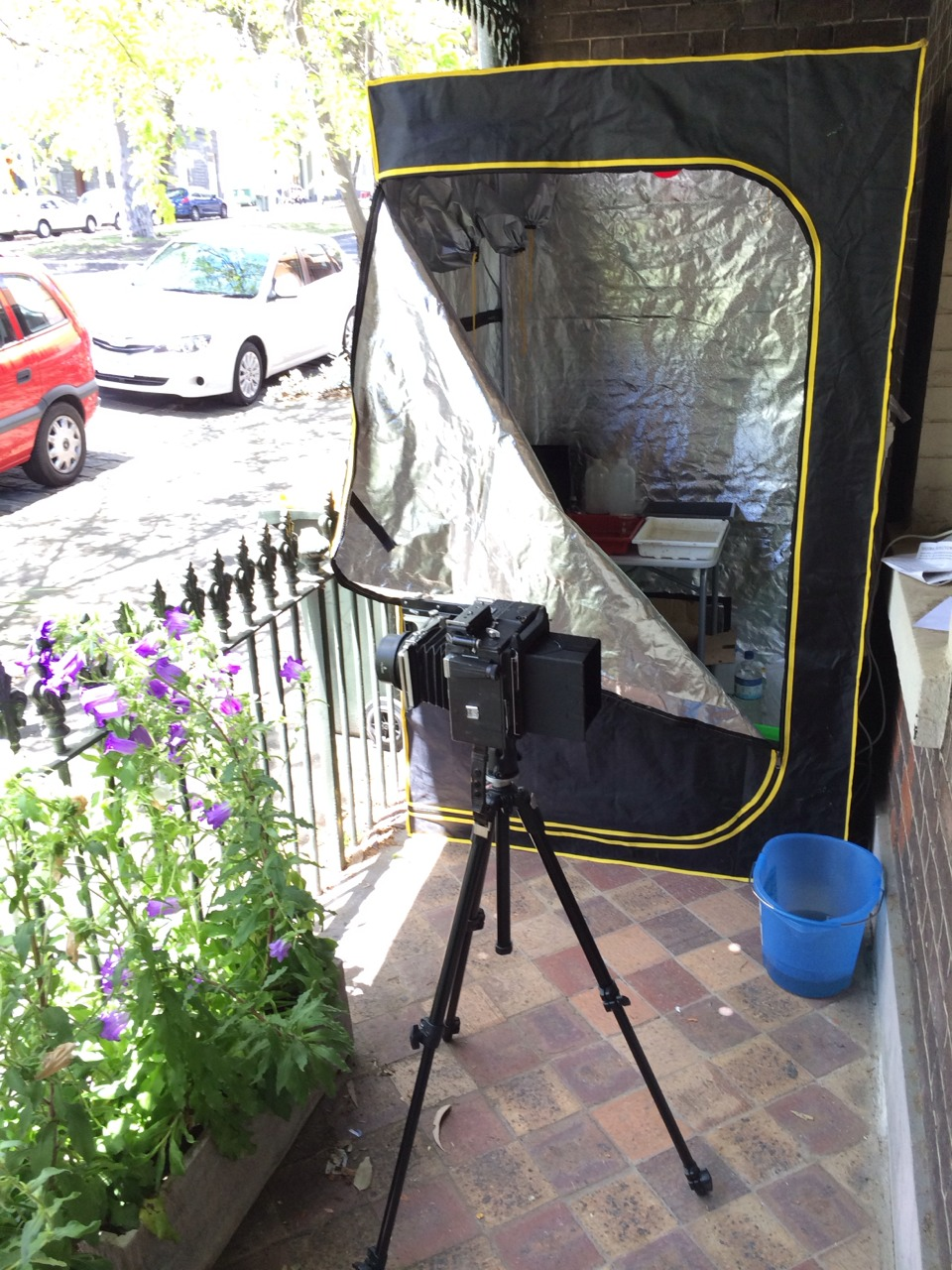 """The new """"growth tent"""" from eBay, along with the Graflex."""