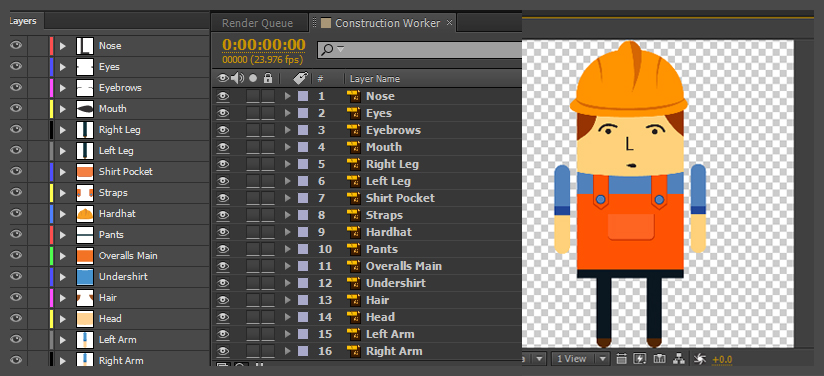 Layers in Illustrator next yo the layers in After Effects.