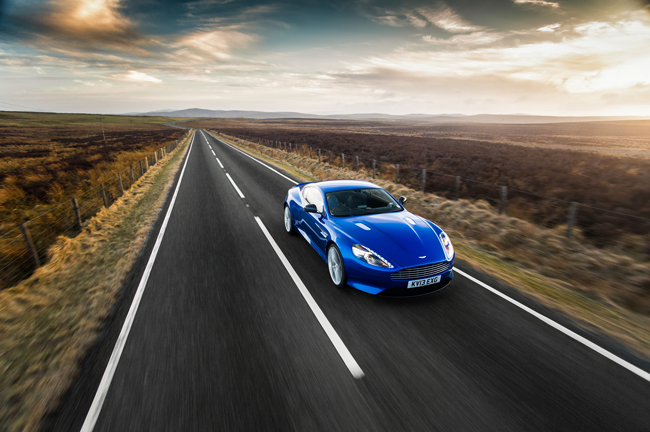 Aston Martin DB9 Wales Road Sunset Richard Pardon Automotive Photographer Car Magazine Cobalt Blue.jpg