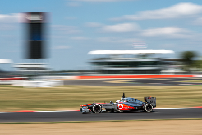 Gary Paffett in the McLaren MP4-28 exiting Luffield at the Silverstone Young Driver Test
