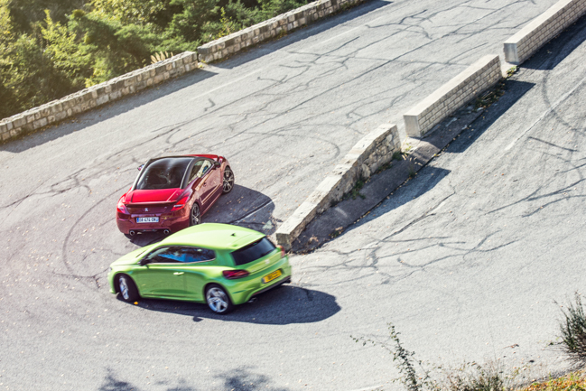 RCZ-R VW Scirocco Col De Braus Hot Hatch Group Test