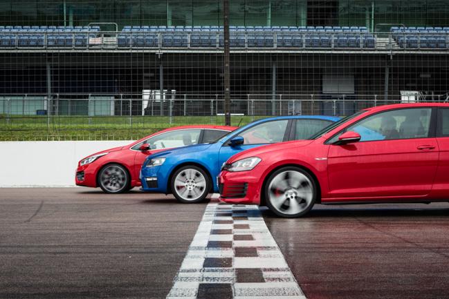 Volkswagen GTi Skoda Octavia VRs Kia Proceed GT Group Test.jpg