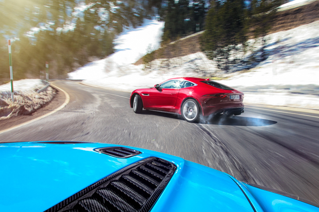 Kings Of The Mountains Jaguar F Type Coupe R Drift Sideways Sldie Aston Martin V12 Vantage S Pyrenees.jpg
