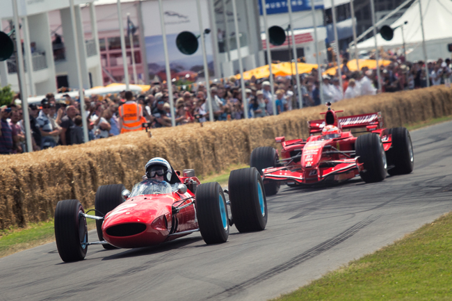 Jon Surtees and Kimi Raikkonen Goodwood Hill Climb FoS.jpg