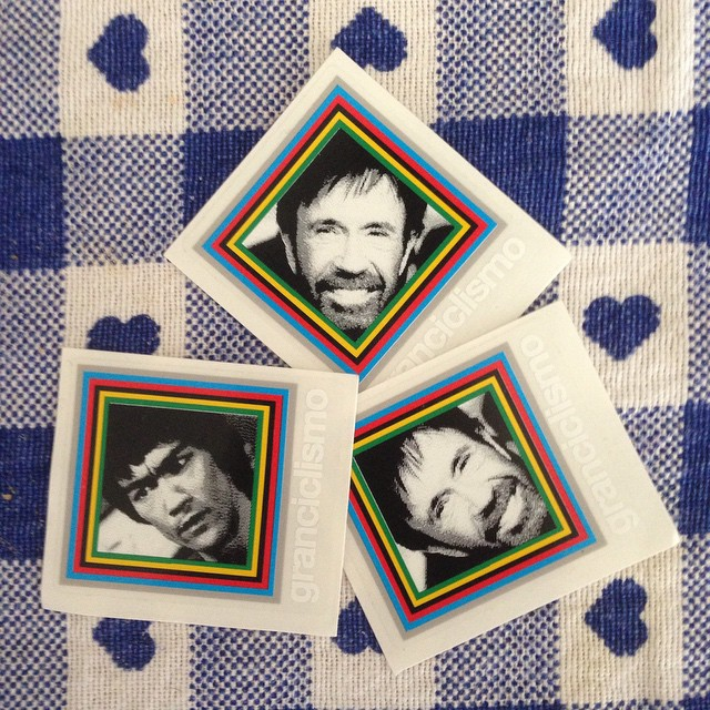 Scored some super styling badges last night #chucknorris #brucelee @granciclismo #bicycle #bike #badge #headbadge