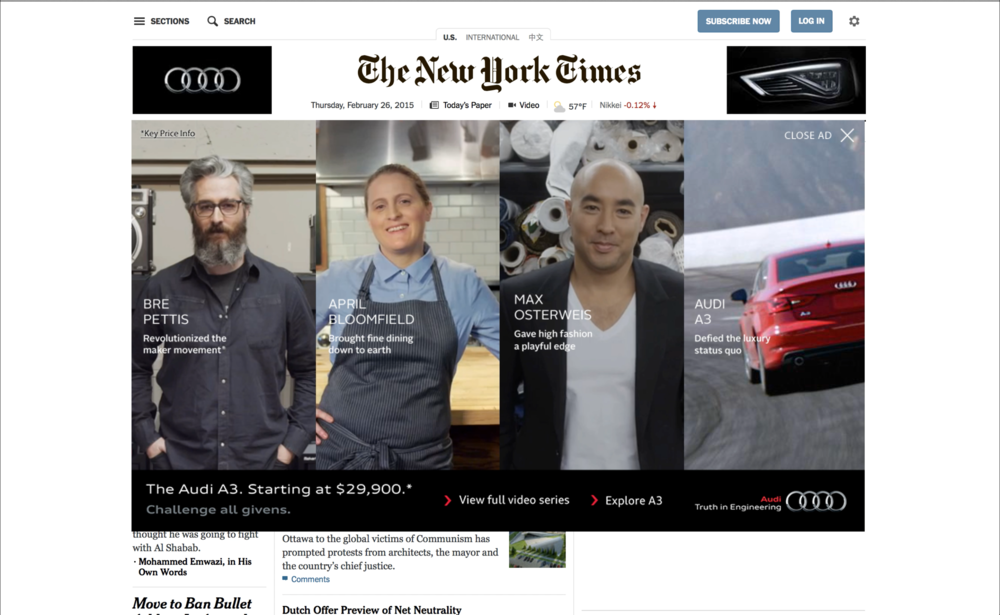 New York Times homepage takeover, expanded state.