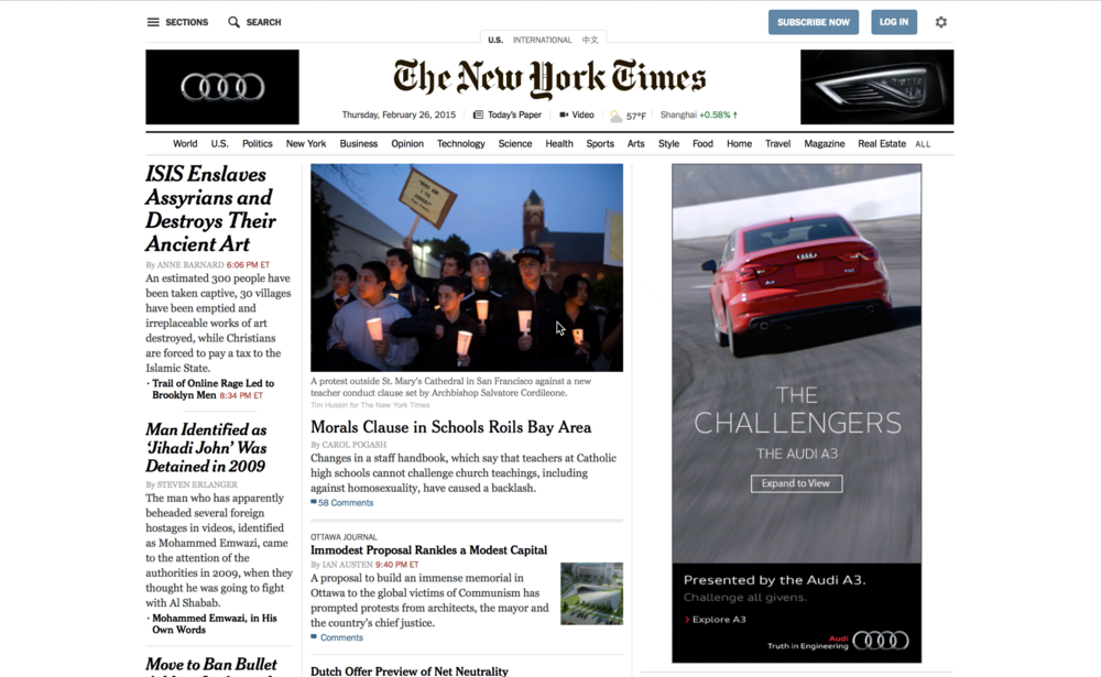 New York Times homepage takeover, collapsed state.